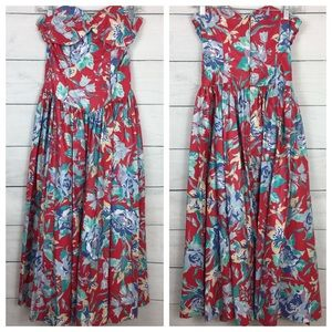Laura Ashley Vintage Strapless Floral Midi Dress